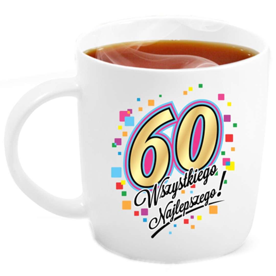 """Kubek z nadrukiem """"60 Urodziny"""", biały, BGtech, 330 ml"""