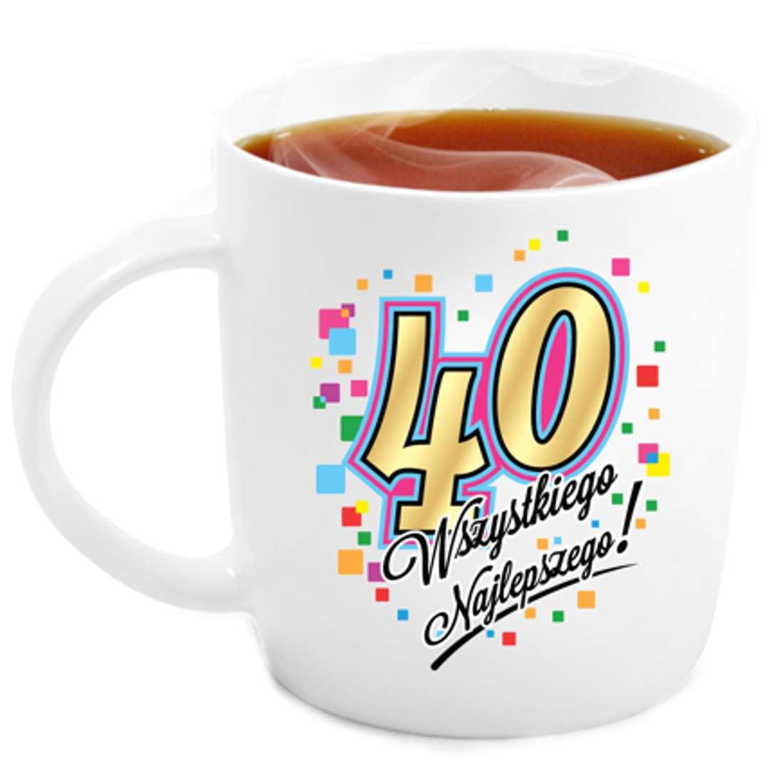 """Kubek z nadrukiem """"40 Urodziny"""", biały, BGtech, 330 ml"""