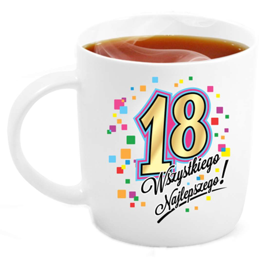 """Kubek z nadrukiem """"18 Urodziny"""", biały, BGtech, 330 ml"""