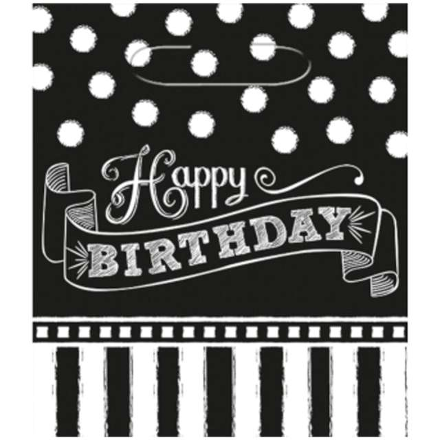 """Torebki """"Happy Birthday - Paski i kropki"""", biało-czarne, Amscan, 8 szt"""