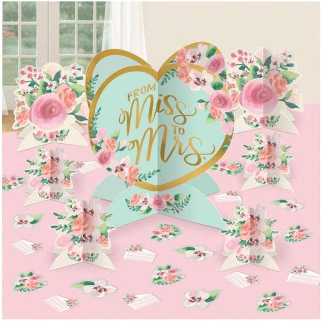 """Dekoracja na stół """"From Miss to Mrs"""", AMSCAN, 27 szt"""