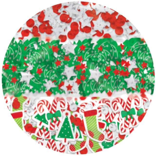 """Konfetti """"Świąteczny mix"""", czerwono-zielone, Amscan, 34g"""