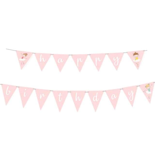 Baner flagi Baletnica - urodziny różowe Amscan 180 cm