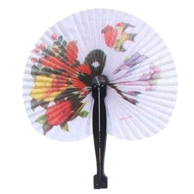 """Wachlarz papierowy """"Kwiaty i ptak"""", biały, 21 x 23 cm"""