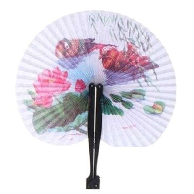 Wachlarz papierowy Ptaszki i róża biały 21 x 23 cm