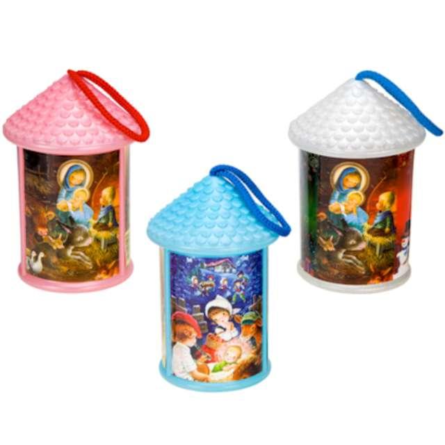 Lampion Adwentowy - zmieniający kolor niebieski okrągły Godan 20 cm