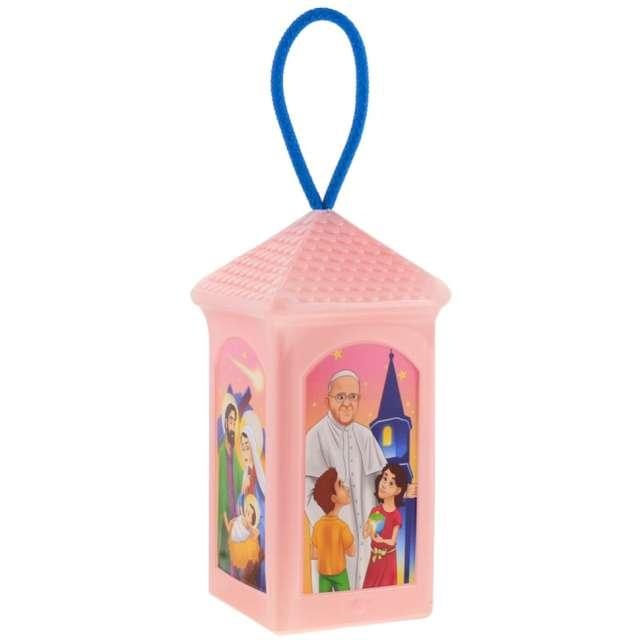 Lampion Adwentowy - zmieniający kolor różowy prostokątny Godan 20 cm