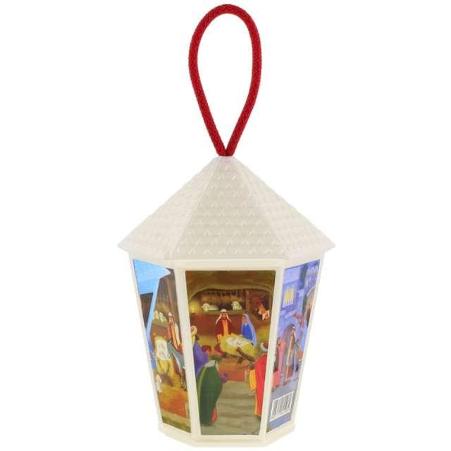 Lampion Adwentowy - zmieniający kolor biały sześciokątny Godan 20 cm