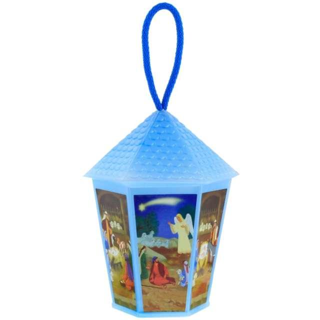 """Lampion """"Adwentowy - zmieniający kolor"""", niebieski, sześciokątny, Godan, 20 cm"""