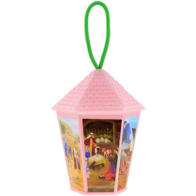 """Lampion """"Adwentowy - zmieniający kolor"""", różowy, sześciokątny, Godan, 20 cm"""