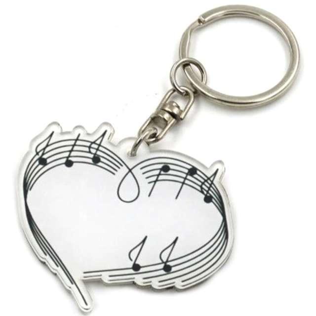 Brelok Muzyczny - Serce z nutami biały Kemiś