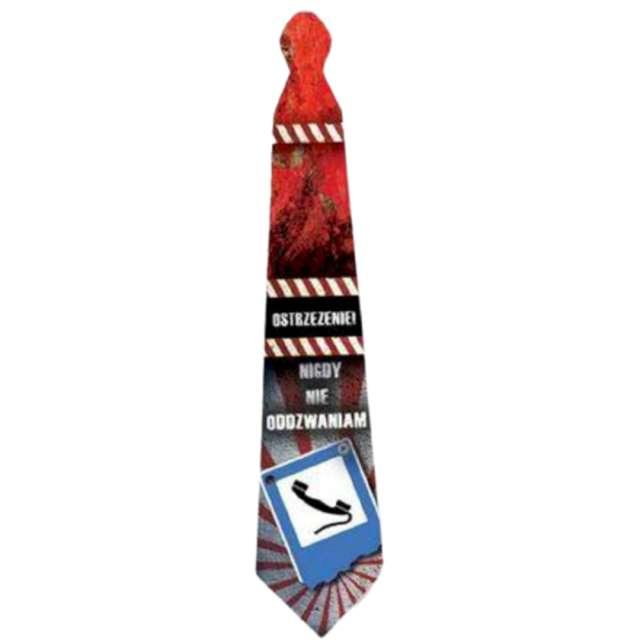 Krawat Ostrzeżenie - Nigdy nie oddzwaniam wielokolorowy Kemiś 42 cm