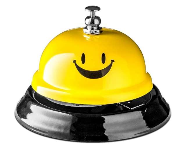 """Biurkowy dzwonek """"Czas na uśmiech"""", żółty, GadgetMaster"""