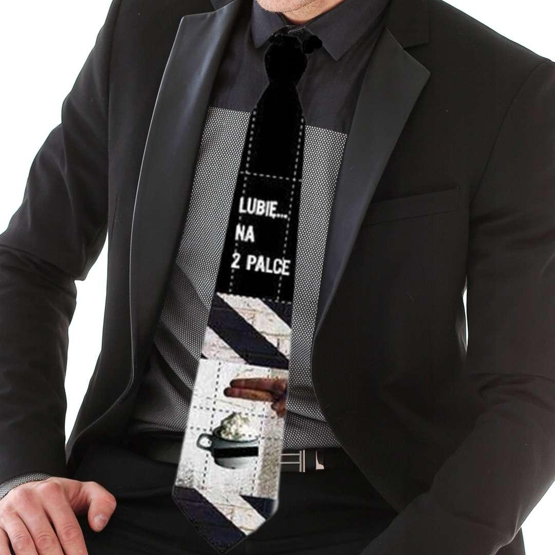 Krawat Lubię na 2 palce czarny Kemiś 42 cm