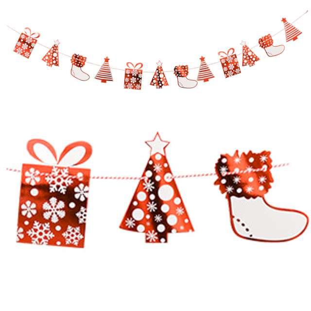 Girlanda Świąteczne prezenty biało-czerwona Arpex 230 cm
