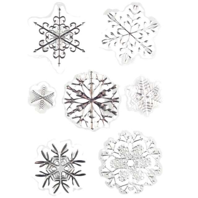 """Dekoracja na okno """"Samoprzylepne śnieżynki"""", srebrne, Arpex, 7 szt"""