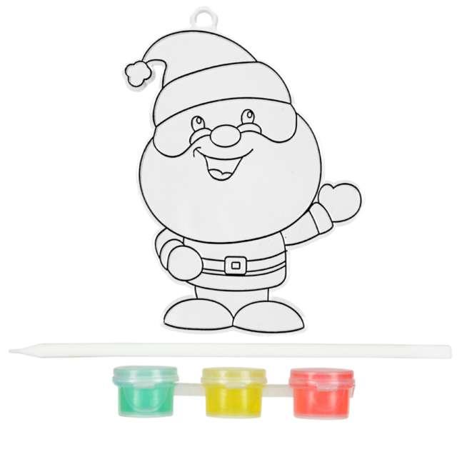 _xx_Świąteczny witrażyk z farbkami - mikołaj