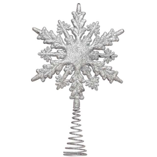 """Czubek choinkowy """"Śnieżynka brokatowa"""", srebrny, Arpex, 22 cm"""