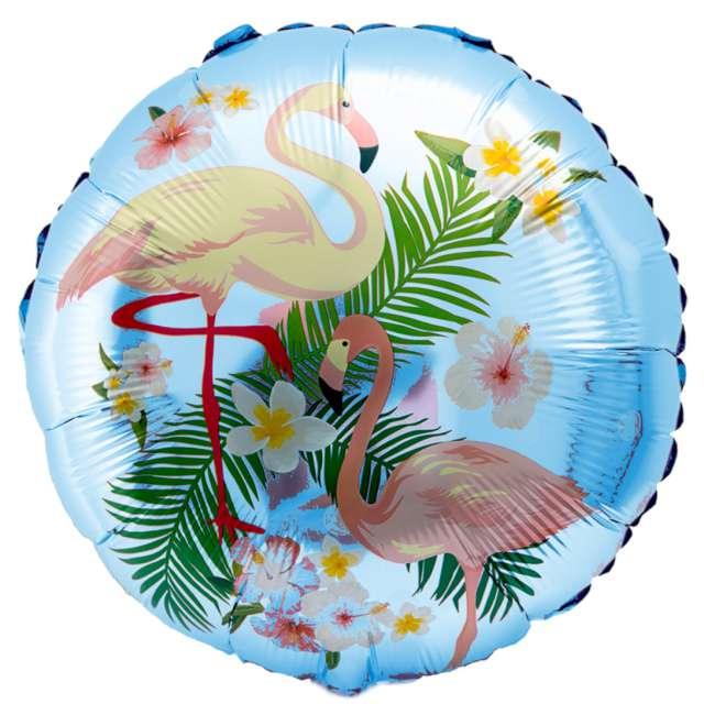 """Balon foliowy """"Flamingi w kwiatach"""", błękitny, OEM, 18"""", RND"""