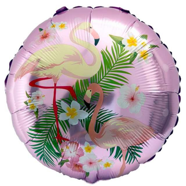 Balon foliowy Flamingi w kwiatach fioletowy jasny OEM 18 RND