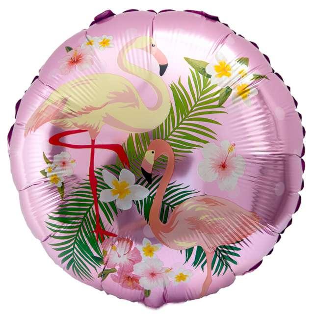 """Balon foliowy """"Flamingi w kwiatach"""", różowy jasny, OEM, 18"""", RND"""