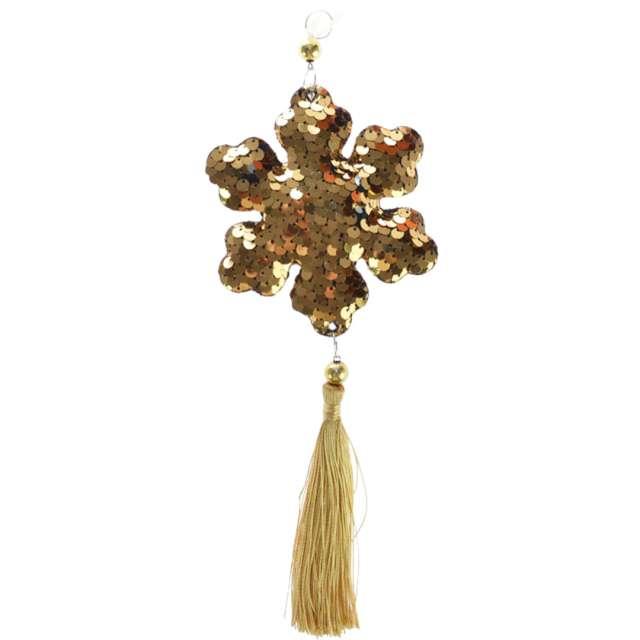 """Dekoracja """"Cekinowa śnieżynka"""", złota, Arpex, 26 cm"""