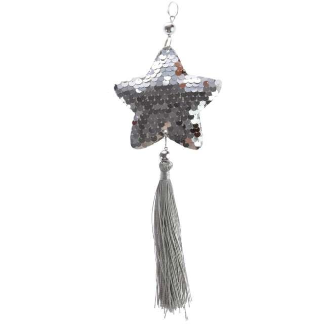 Dekoracja Cekinowa gwiazdka srebrna Arpex 23 cm