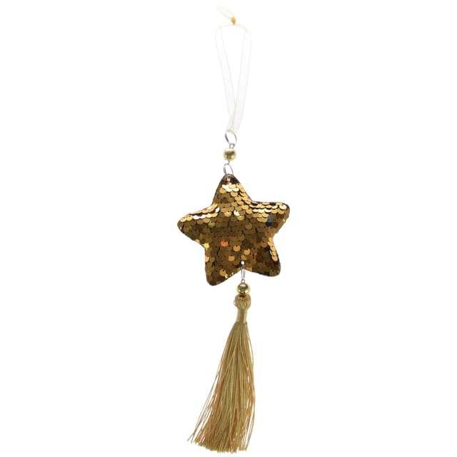 Dekoracja Cekinowa gwiazdka złota Arpex 23 cm
