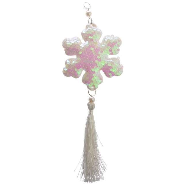 """Dekoracja """"Cekinowa śnieżynka"""", perłowa, Arpex, 26 cm"""