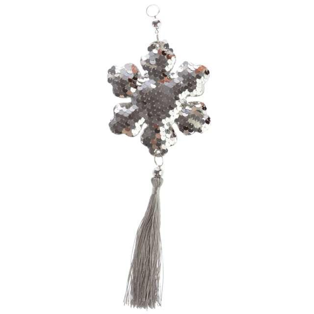 """Dekoracja """"Cekinowa śnieżynka"""", srebrna, Arpex, 26 cm"""