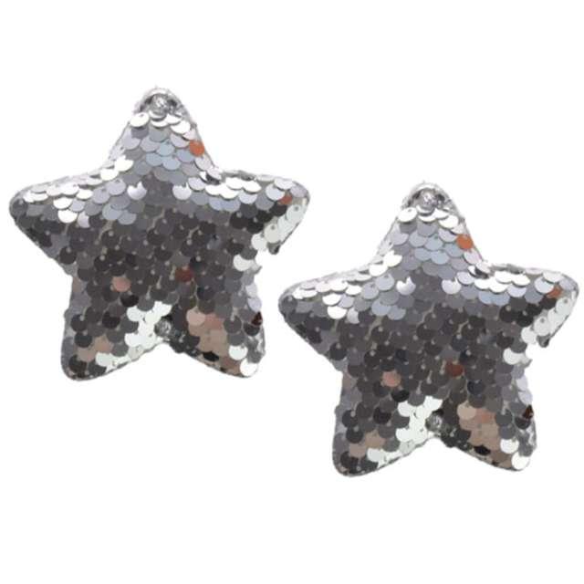 Ozdoby choinkowe Cekinowe gwiazdki srebrne Arpex 8 cm 2 szt