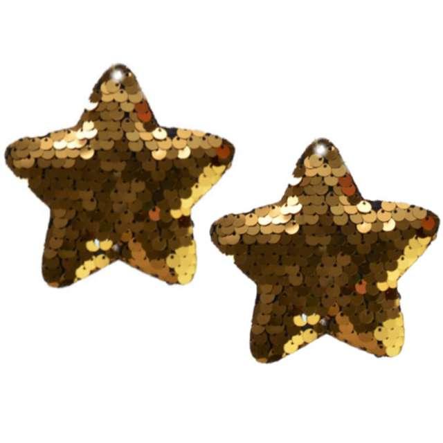 """Ozdoby choinkowe """"Cekinowe gwiazdki"""", złote, Arpex, 8 cm, 2 szt"""