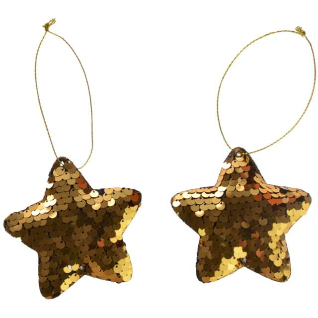 Ozdoby choinkowe Cekinowe gwiazdki złote Arpex 8 cm 2 szt