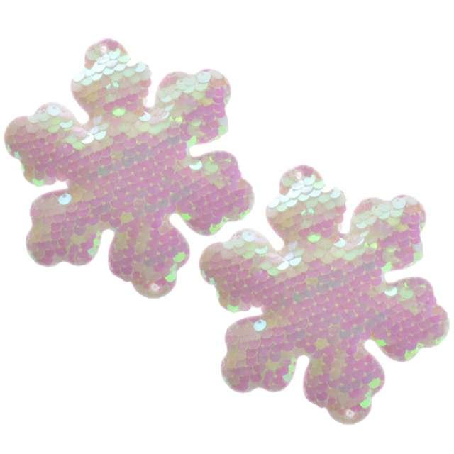 """Ozdoby choinkowe """"Cekinowe śnieżynki"""", perłowe, Arpex, 10 cm, 2 szt"""