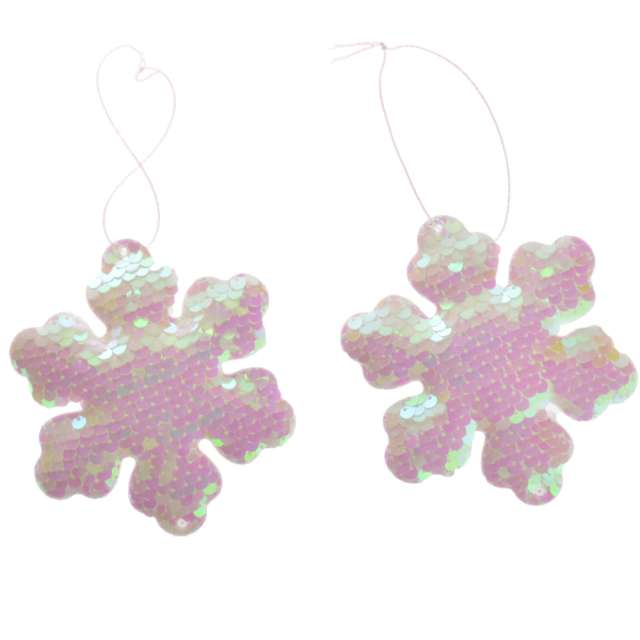 Ozdoby choinkowe Cekinowe śnieżynki perłowe Arpex 10 cm 2 szt