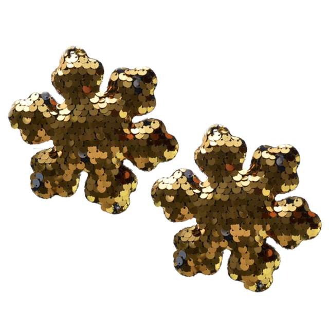 """Ozdoby choinkowe """"Cekinowe śnieżynki"""", złote, Arpex, 10 cm, 2 szt"""