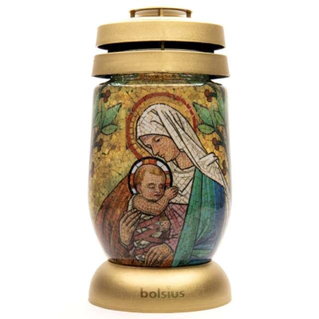 Znicz Lampion Witraż z Maryją Bolsius 11x23 cm