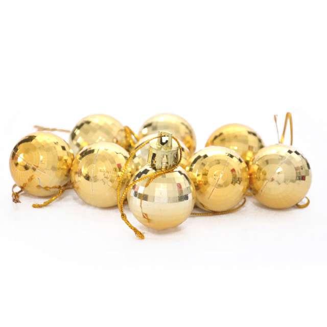 "Bombki ""Disco"", złote, Arpex, 3 cm, 9 szt"