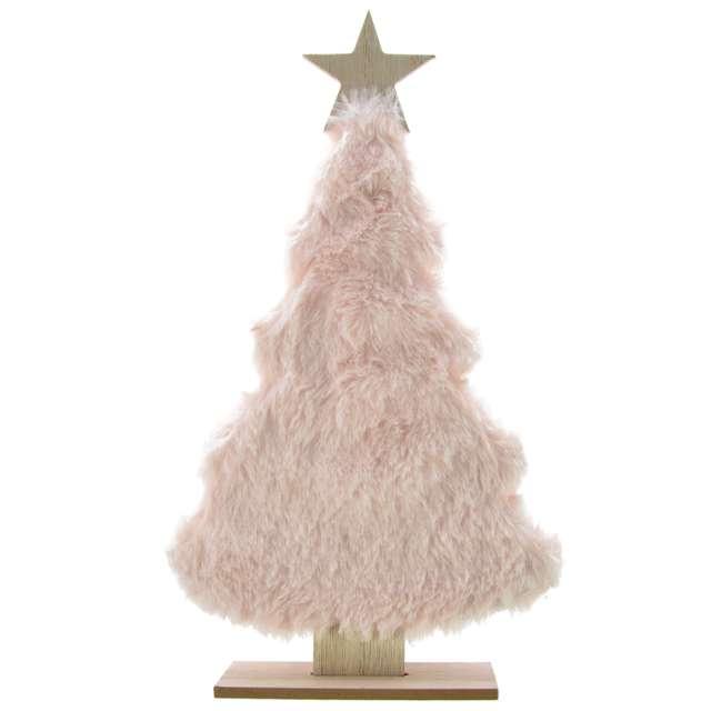 """Dekoracja """"Choinka z różowym futerkiem"""", drewniana, Arpex, 30 cm"""