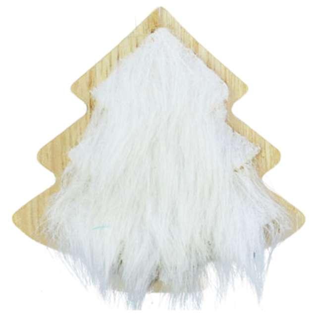 """Ozdoba choinkowa """"Choinka z białym futerkiem"""", drewniana, Arpex, 8 cm"""