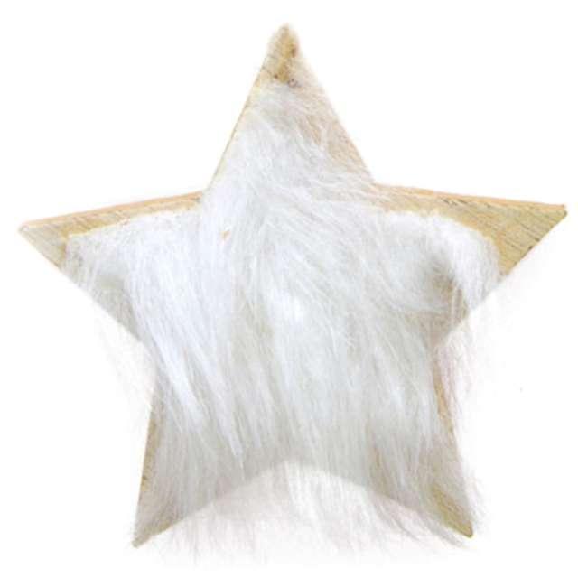 """Ozdoba choinkowa """"Gwiazda z białym futerkiem"""", drewniana, Arpex, 8 cm"""