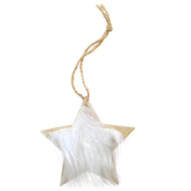 Ozdoba choinkowa Gwiazda z białym futerkiem drewniana Arpex 8 cm