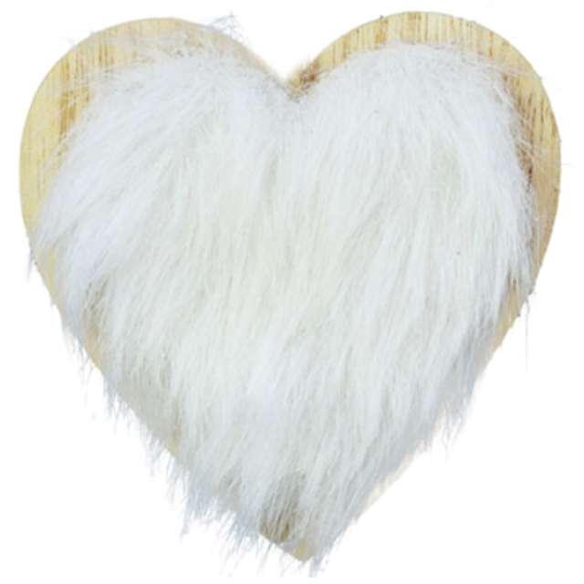 """Ozdoba choinkowa """"Serce z białym futerkiem"""", drewniana, Arpex, 8 cm"""