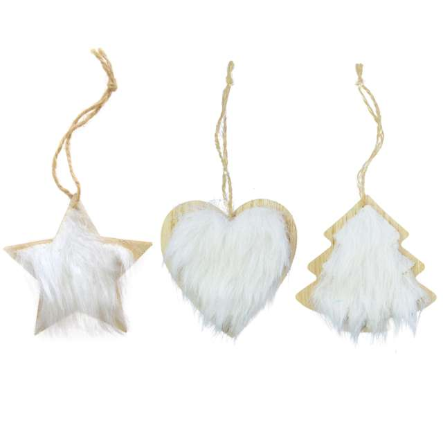 Ozdoba choinkowa Serce z białym futerkiem drewniana Arpex 8 cm