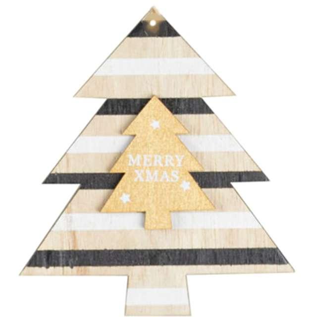 """Ozdoba choinkowa """"Choinka - Merry Christmas"""", drewniana, Arpex, 10 cm"""