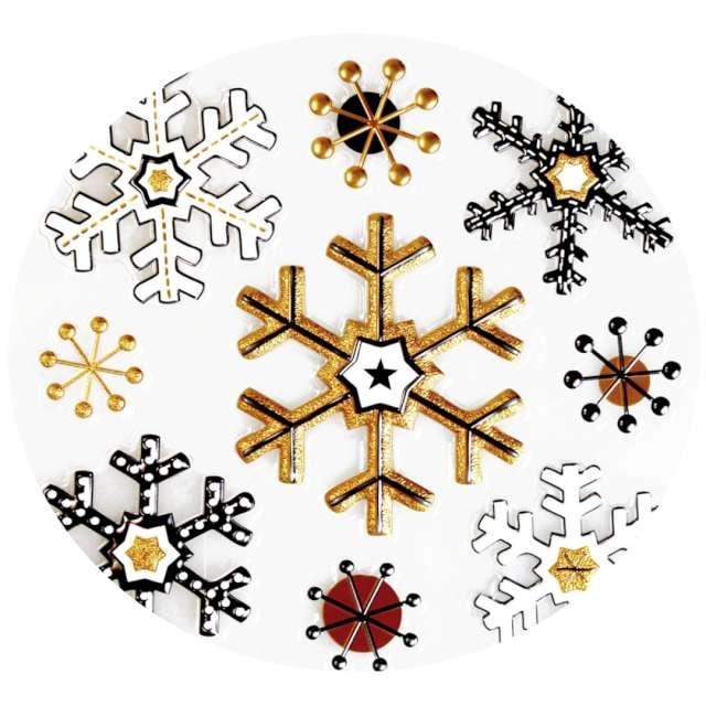 """Naklejki """"Glamour 3D - śnieżynki"""", czarno-złote, Arpex, arkusz"""