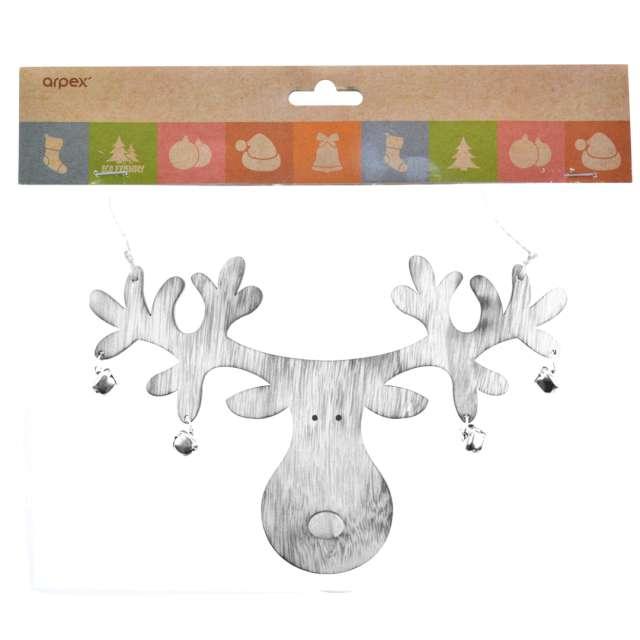 Dekoracja Renifer z dzwoneczkami drewno ecru Arpex 24 cm
