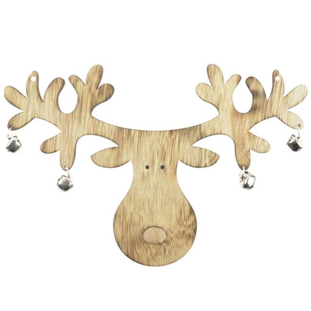 """Dekoracja """"Renifer z dzwoneczkami"""", drewno, brąz, Arpex, 24 cm"""