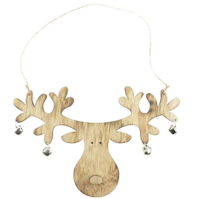 Dekoracja Renifer z dzwoneczkami drewno brąz Arpex 24 cm