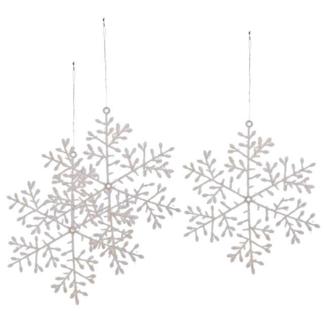 Ozdoba choinkowa Biała śnieżynka Arpex 15 cm 3 szt